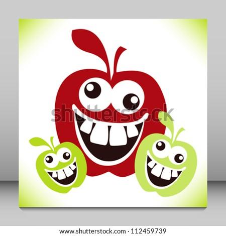 Crazy furry funny face apples cartoon design.