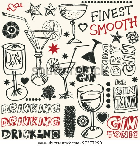 crazy gin drinking doodles