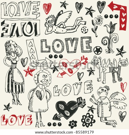 crazy love doodles, hand drawn design elements