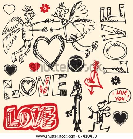 crazy love doodles, hand drawn design elements