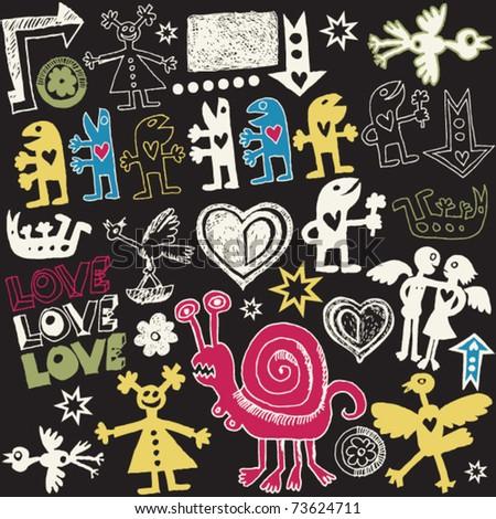 crazy love doodles, vector design elements