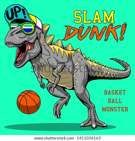 crazy monster dinosaur playing basketball slam dunk slogan tee shirt graphic pajama print design