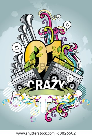crazy music urban vector
