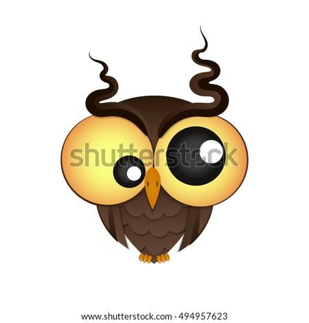crazy owl with big eyes vector