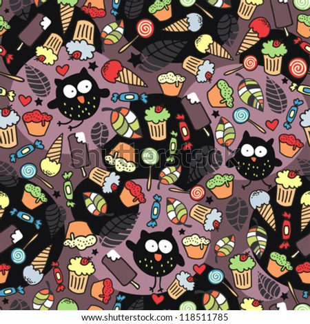 Crazy owls and some tasty things. Seamless pattern in vector.