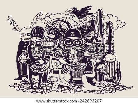 crazy persons  bikers  skulls