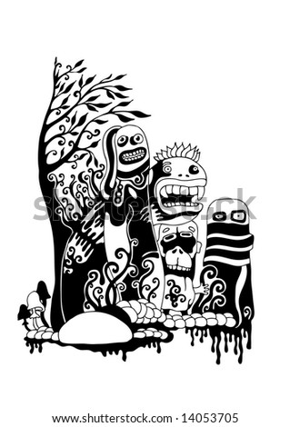 crazy persons, ink style vector background. for CD cover or t-shirt design