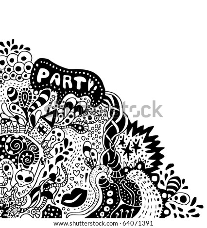 crazy psychedelic hand-drawn doodle with copy space