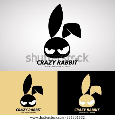 Crazy Rabbit Logo Design on Cute Style for Creative Business, Rabbit Farm or Animal Cafe, etc. Logo Vector Template.