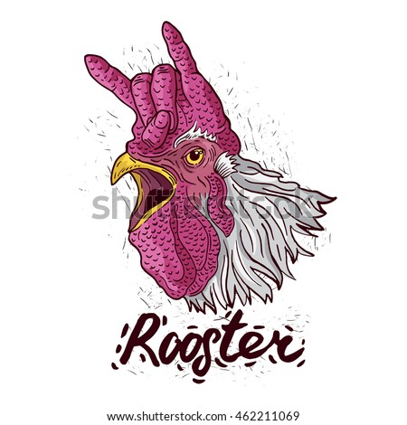 crazy rooster symbol with hot