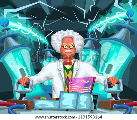 crazy scientist at work
