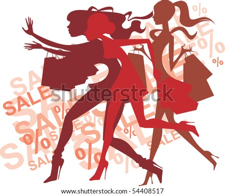 Crazy shopping girls silhouettes