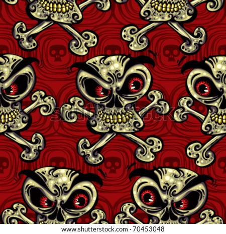 Crazy skulls seamless pattern. Skulls with angry look, red eyes, yellow teeth and crossbones. Vector background. Layered, easy to edit.