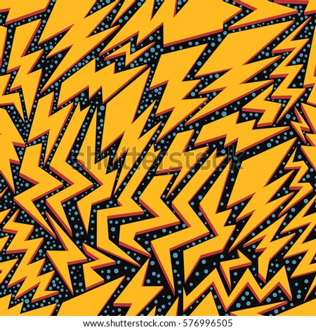 Crazy yellow thunder lightning seamless pattern on black background with white stars. Vector illustration. EPS 10.