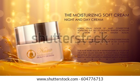 Cream ads, white,black, gold makeup jar template. Design cosmetics product advertising, blur  and bokeh background, sparkling effect. 3d Vector illustration, cream, soaps. Honey, water or oil splash.