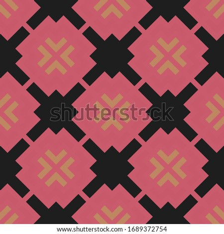 Cream and pink pattern on black background. Seamless textile design.