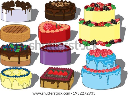 Cream cakes vector set, fruit, chocolate, nuts, honey cakes. Wedding cake, birthday cake, Saint Valentine`s Day cake, holiday cake, cream rose, cream decorations