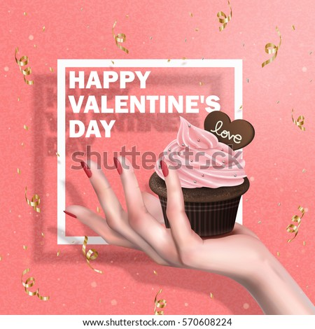 cream chocolate muffin held in hand, valentine's day special, pink background 3d illustration