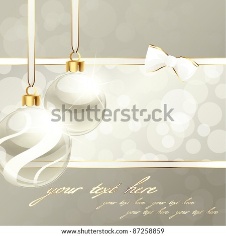 Cream-colored banner with Christmas ornaments (eps10);  jpg version also available