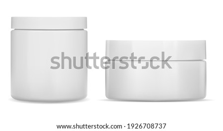 Cream jar. Cosmetic jar mockup, Round white bottle. Plastic creme container blank. Realistic clear body skin beauty cream, corporate branding identity simple can, vector mockup. 3d pot