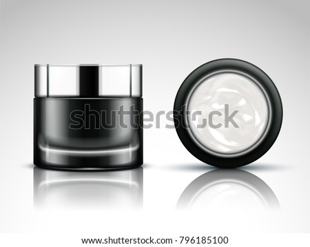 Cream jar mockup, blank cosmetic jar in 3d illustration for design use