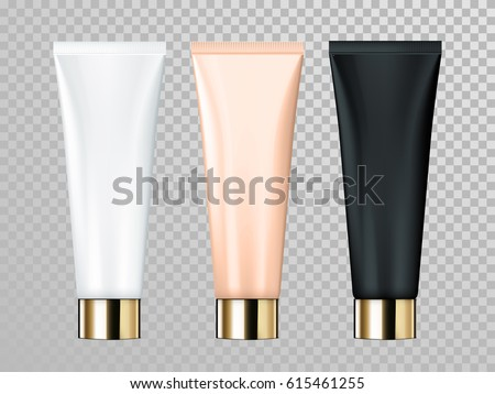 Cream or lotion tube vector isolated template for skin care product. Premium face moisturizer packages set with golden cap or lid on transparent background