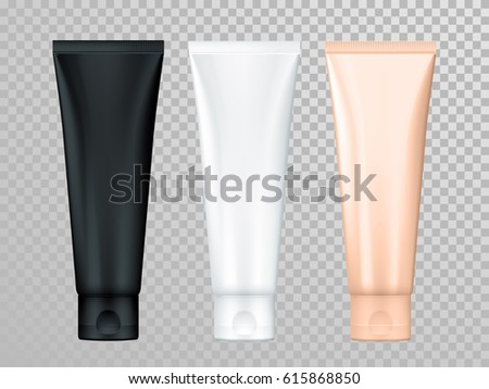 Cream or lotion tubes vector isolated templates set for skin care product. Black, white, beige Premium face moisturizer packages on transparent background