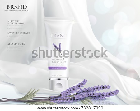 Cream product ads, white tube with dynamic satin elements isolated on bokeh background, 3d illustration