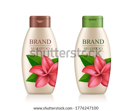 Cream shampoo product bottle with colorful cap, Plumeria flower template design isolated on white background, vector illustration
