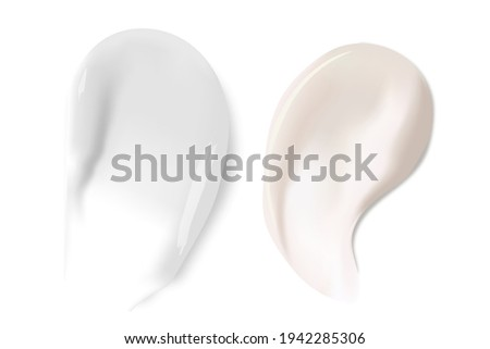 Cream texture stroke isolated on transparent background. Facial creme, foam, gel or body lotion skincare icon. Vector face cream cosmetic product smear swatch.