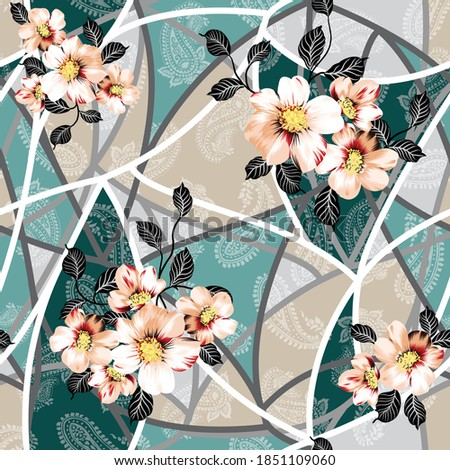 cream vector flowers pattern on seamless green and cream bandanna halftone paisley background