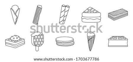 Cream waffle vector outline set icon.Vector illustration icon waffle cake.Isolated outline set of cream dessert and chocolate food. Сток-фото ©