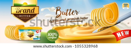 Creamy butter ads, butter curls on knife with package design in 3d illustration, nature bokeh background