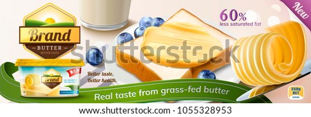 Creamy butter ads, butter curls on knife with some spreading on toast in 3d illustration