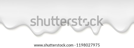 Creamy liquid, yogurt cream, ice cream or milk melting and flowing. White creamy drips. Simple cartoon design. Beautiful background. Template for banner or poster. Realistic vector illustration.