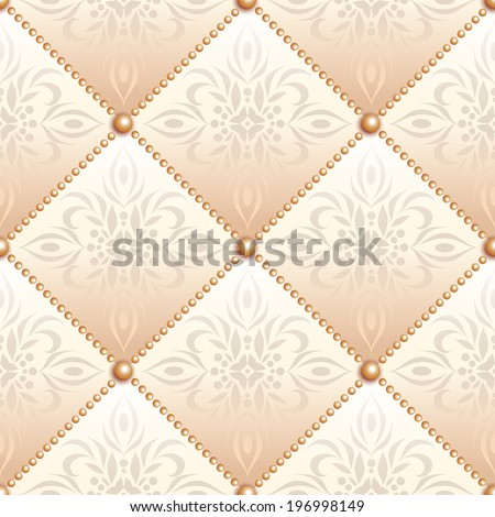 Creamy satin quilted seamless texture of fabric with pearl buttons and classic pattern