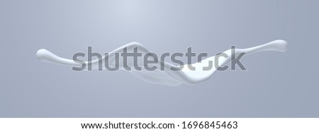 Creamy white liquid splash. Vector realistic 3d illustration. Flowing milk. Melted and dripping protein substance. Isolated splashing cream. Decoration element for cosmetics or food industry design