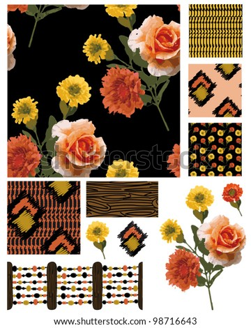 Create great textile projects with these repeat seamless vector floral patterns. Use for patchwork pieces or pillows or digital paper craft.