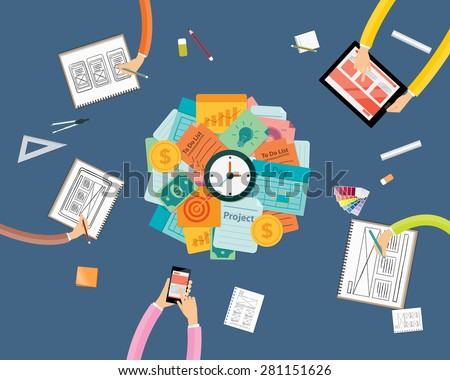 create to business project workspace and work pressing concept