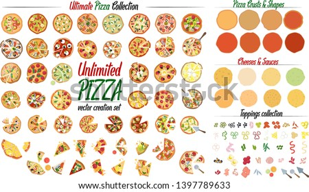 Create unlimited variation with the Ultimate Pizza collection set. Create your own pizza with 50 different pizza design and tons of toppings, crusts and cheeses. Vector illustrations.