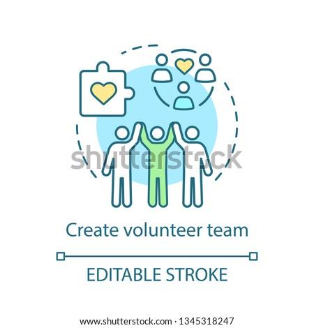 Create volunteer team concept icon. Charitable foundation. Volunteering organization idea thin line illustration. Vector isolated outline drawing. Editable stroke