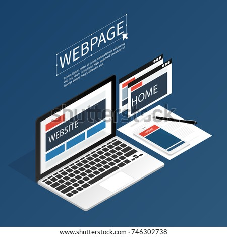 create website webpage design computer isometric flat vector