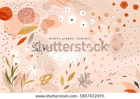 Create your own design with these graphic items. Trendy geometric forms, textures, strokes, abstract and floral decor elements. Vector illustration.