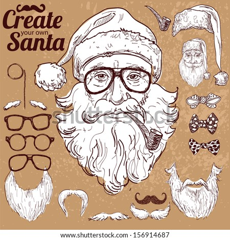 Create your own hipster Santa vector illustration hand drawn on vintage background hipster design elements xMas card