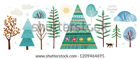 Create your own illustration of a winter landscape or a card for New Year and Christmas, a vector set of winter trees and a Christmas tree, sun, snow, snowflake, bush, cloud, dog and gift