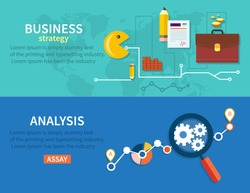Creating business strategy plan, generating report. Growth chart with magnifying glass focusing on point. Representing success and financial growth. Graphical analysis in flat design style