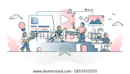 Creating creative content with artists culture performance outline concept. Film making, music, literature and painting as creator or author expression vector illustration. Campaign project teamwork.