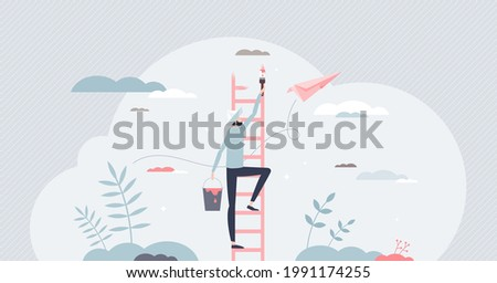 Creating opportunity with personal development and growth tiny person concept. Leadership progress as painting potential ladders with determination, ambitions and business vision vector illustration. Foto stock ©