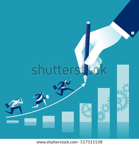 Creating path to success. Businessman hand drawing a line leading to the business success. Business vector concept illustration