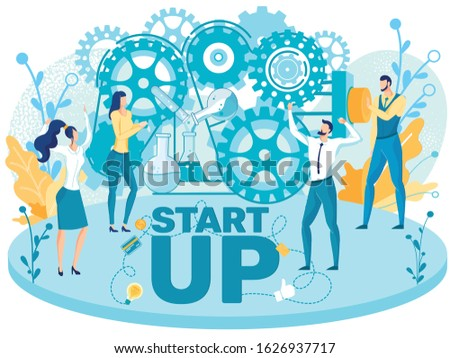 Creating, Starting New Successful Startup, Innovative Technological Company Team Flat Vector Concept. Team of Company Employees, Entrepreneurs Working Together to Improve Business Results Illustration